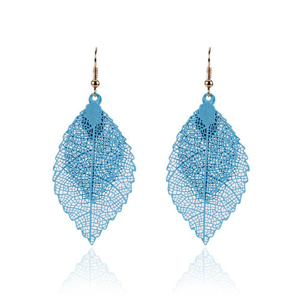 Women Girls Fashion Jewelry Hollow Leaves Pendant Metal Drop Earrings Fashion Jewelry - BLUE