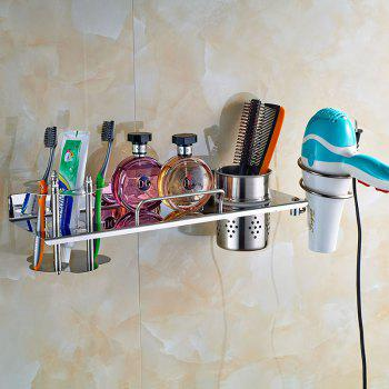 Stainless Steel Wall-mounted Bathroom Storage Shelf 4in1 for Toothbrush Hair Dryer Towel Comb - SILVER