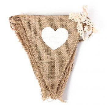 New Vintage Bunting Love Heart Hessian Burlap Fabric For Married Wedding Party Banner Decor - BEIGE