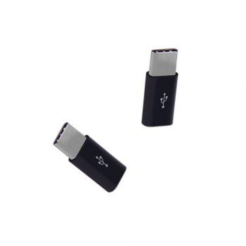 2 PCS Android Type-C To Micro USB Convert Connector with Keychain - BLACK 2PCS
