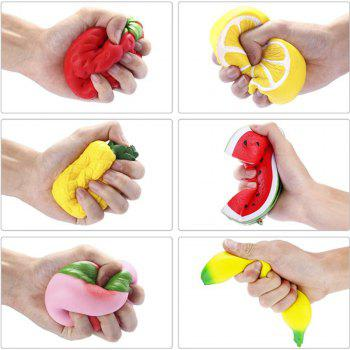 Slow Rising Strawberry Peach Banana Lemon Watermelon Pineapple Charms Fruit Cream Scented Stress Relief Toys 6PCS - COLORFUL