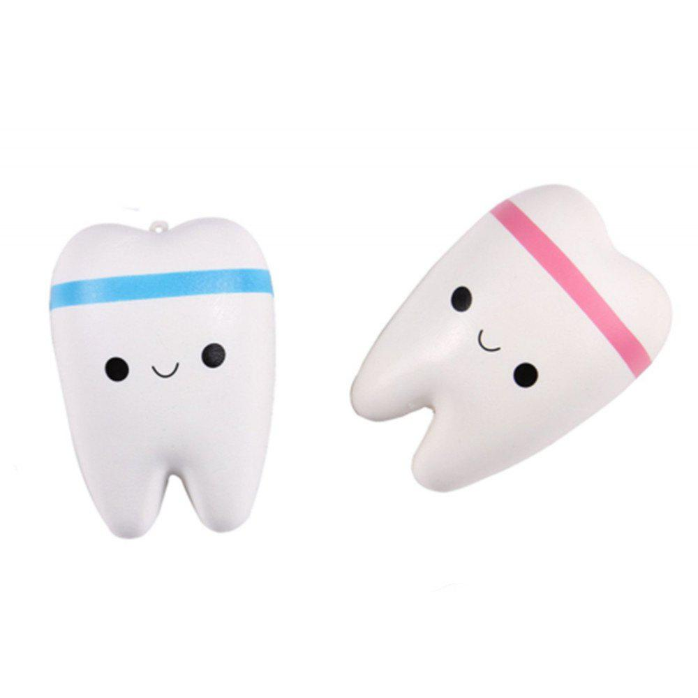 New Cute Creative Smiley Tooth Very Soft Slow Rising Squeeze Rare Kids Toy - PINK