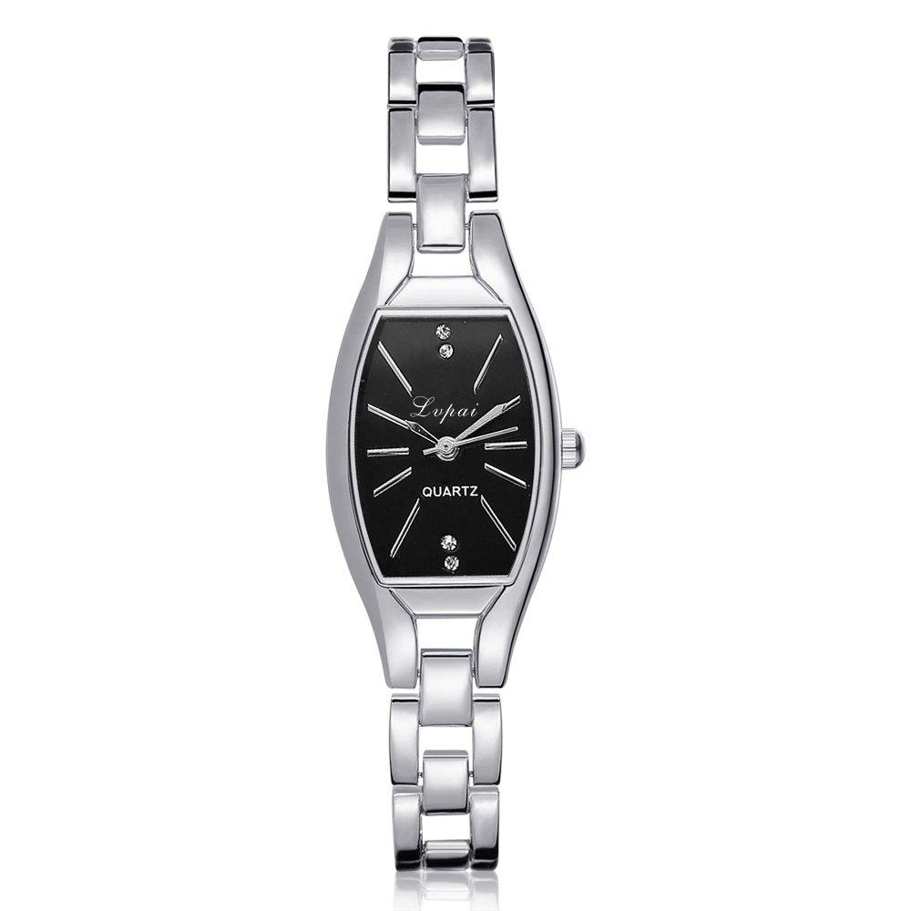 Lvpai P177 Women Metal Band Rectangle Case Quartz Watches - SILVER/BLACK