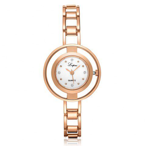 Lvpai P178 Women Fashion Alloy Band Quartz Watches - ROSE GOLD/WHITE