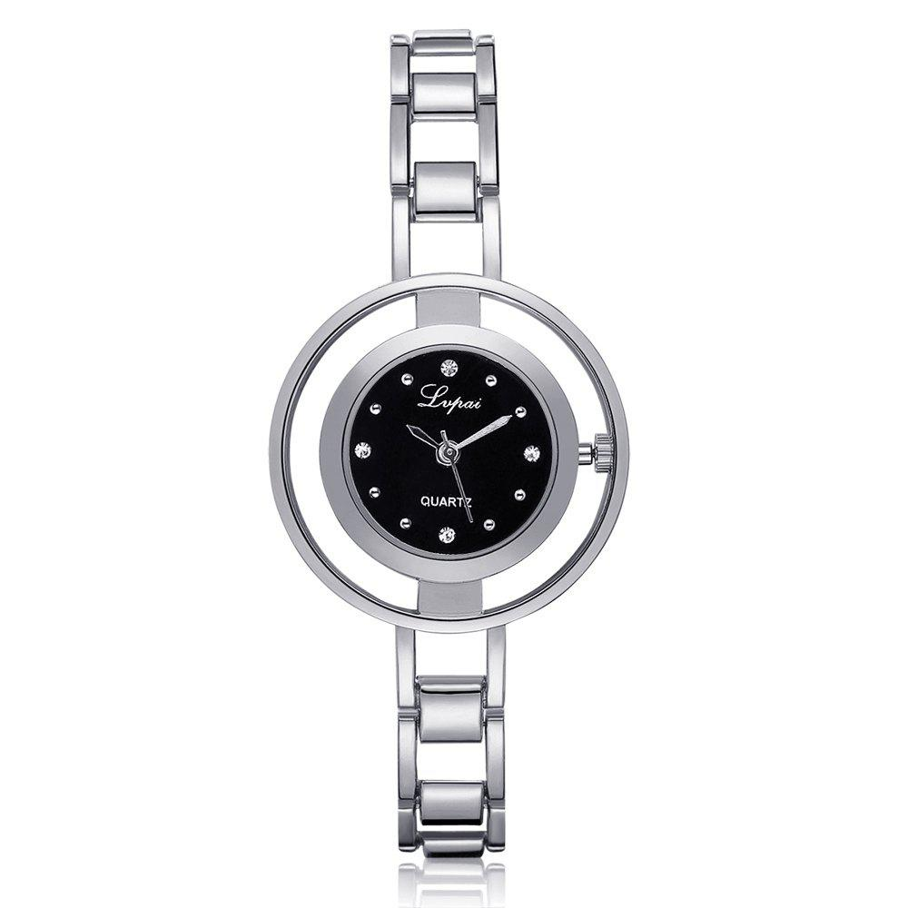 Lvpai P178 Women Fashion Alloy Band Quartz Watches - SILVER/BLACK