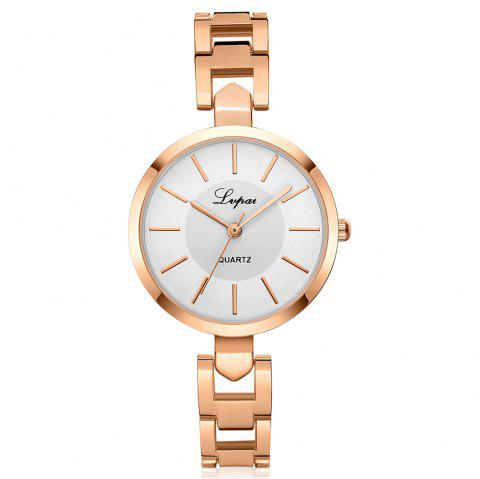 Lvpai P179 Women Simple Alloy Band Wrist Watch - ROSE GOLD/WHITE