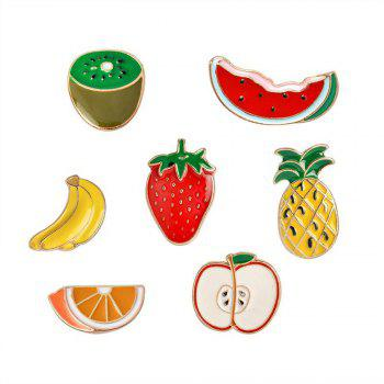 Banana Strawberry Watermelon Kiwi Apple Orange Pineapple Brooch Pins Button Jacket Cowgirl Pin Badge Cartoon Fruit Gift - RED RED
