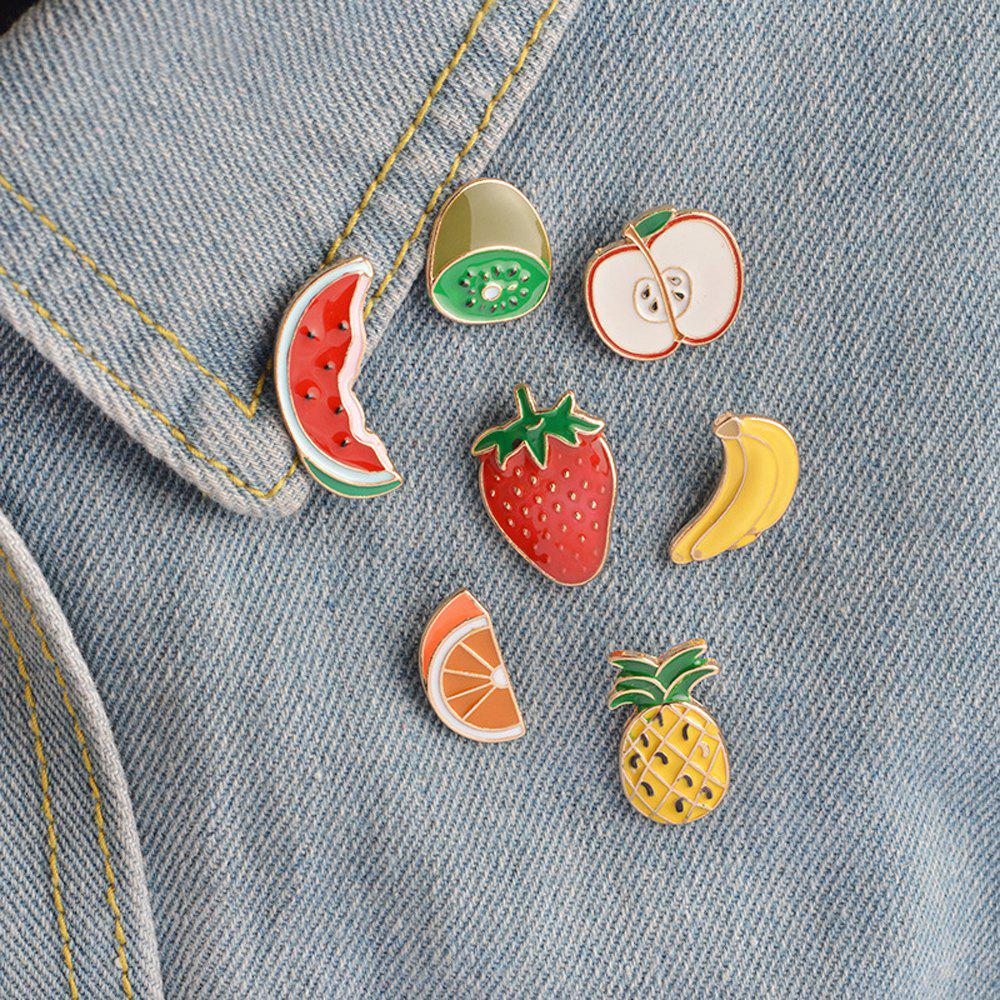 Banana Strawberry Watermelon Kiwi Apple Orange Pineapple Brooch Pins Button Jacket Cowgirl Pin Badge Cartoon Fruit Gift - RED