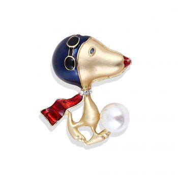 Lovely Enamel Dog Brooch Jewelry For Women Girls Fashion Gold Alloy Crystal Color Suit Lapel Animal Pin Brooches - GOLDEN GOLDEN