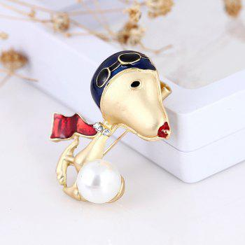 Lovely Enamel Dog Brooch Jewelry For Women Girls Fashion Gold Alloy Crystal Color Suit Lapel Animal Pin Brooches - GOLDEN