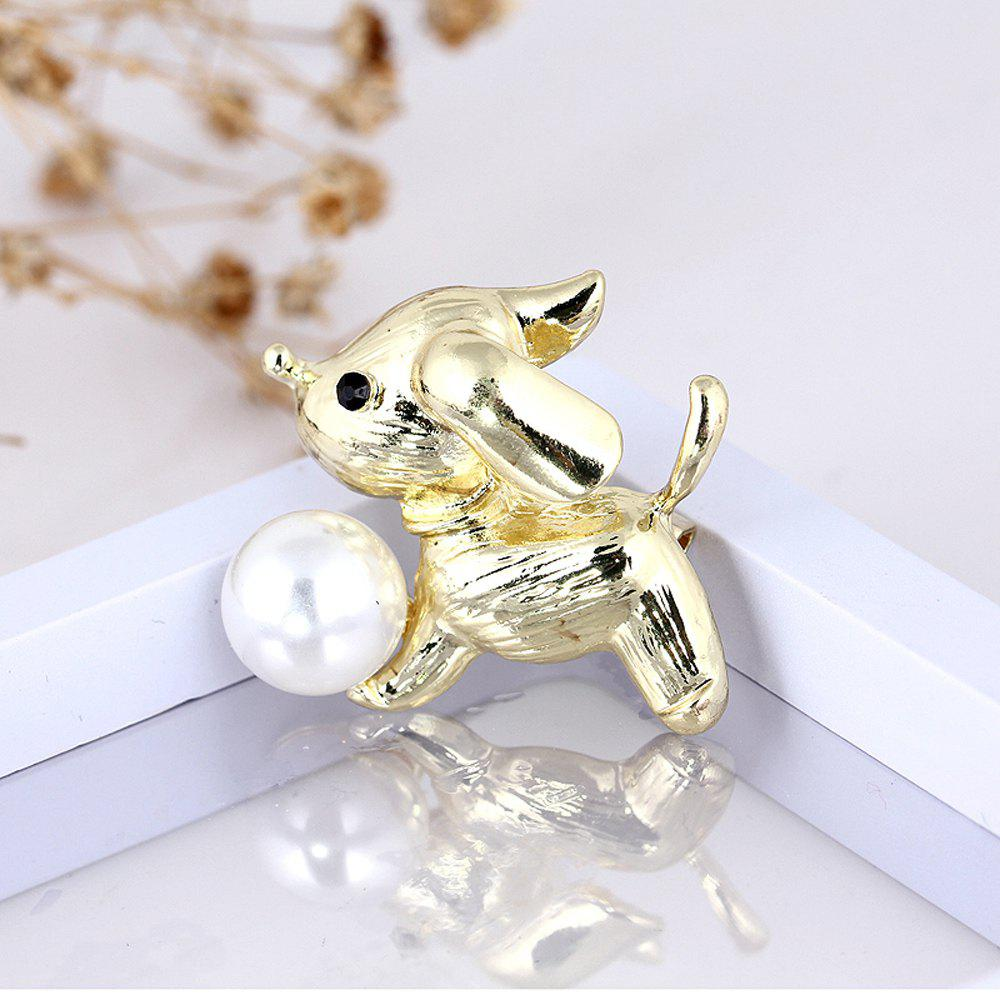 New Arrival Fashion Cute Dog Brooch for Women Men Lovely Pearl Pins Brooches Fresh Water Sweater Suit Scarf Jewelry Cors - GOLDEN