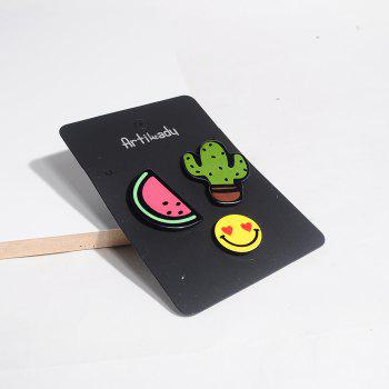 Cartoon Cactus Flamingo Acrylic Brooch For Women / Men Clothes Decorative Badge Rozet Lapel Neck Scarf Pin Jewelry -  RED
