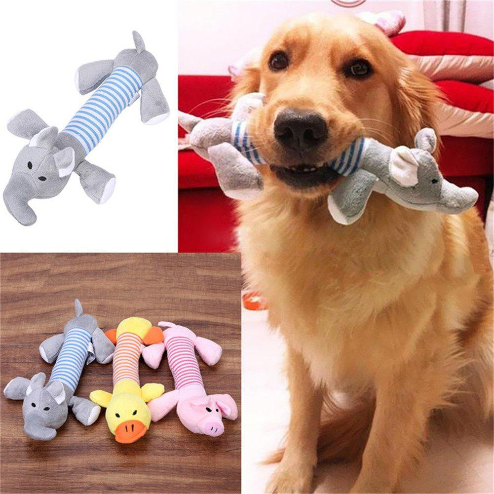 Pet Puppy Chew Squeaker Squeaky Plush Sound Pig Duck For Dog Sound Toys - YELLOW