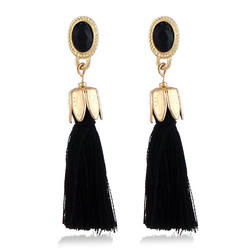 Bohemian 7 Colors Water Droplets Crystal Drop Earrings Long Tassel Earrings For Women Vintage Statement Jewelry Wedding - BLACK