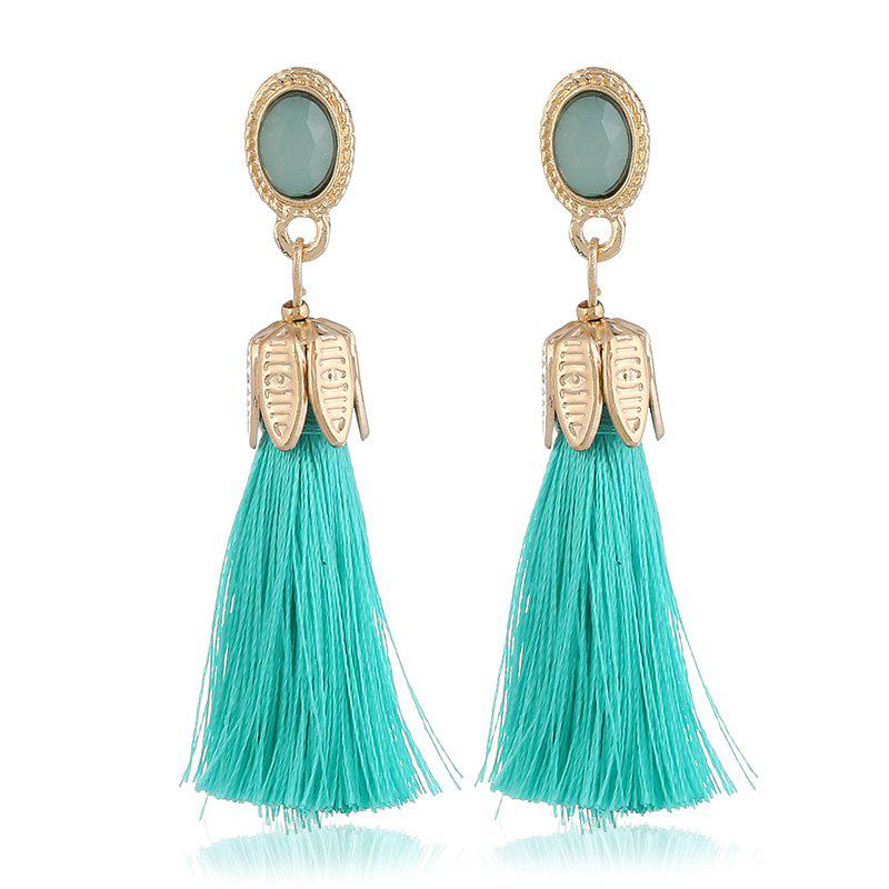 Bohemian 7 Colors Water Droplets Crystal Drop Earrings Long Tassel Earrings For Women Vintage Statement Jewelry Wedding - GREEN