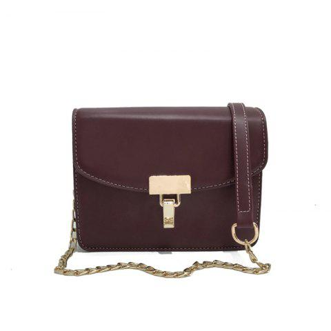 Retro Messenger Simple Lock Shoulder Bag - WINE RED