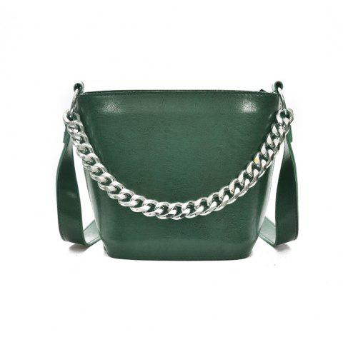 Simple and Crude Rope Fashion Handbag Wild Chain Bucket Shoulder Messenger Bag - GREEN