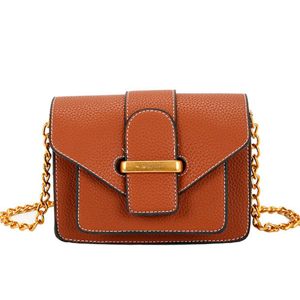 Simple and Wild Small Square Bag Multi-Layer Shoulder Casual Fashion Messenger Bag - BROWN