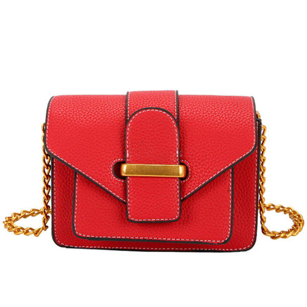 Simple and Wild Small Square Bag Multi-Layer Shoulder Casual Fashion Messenger Bag - RED