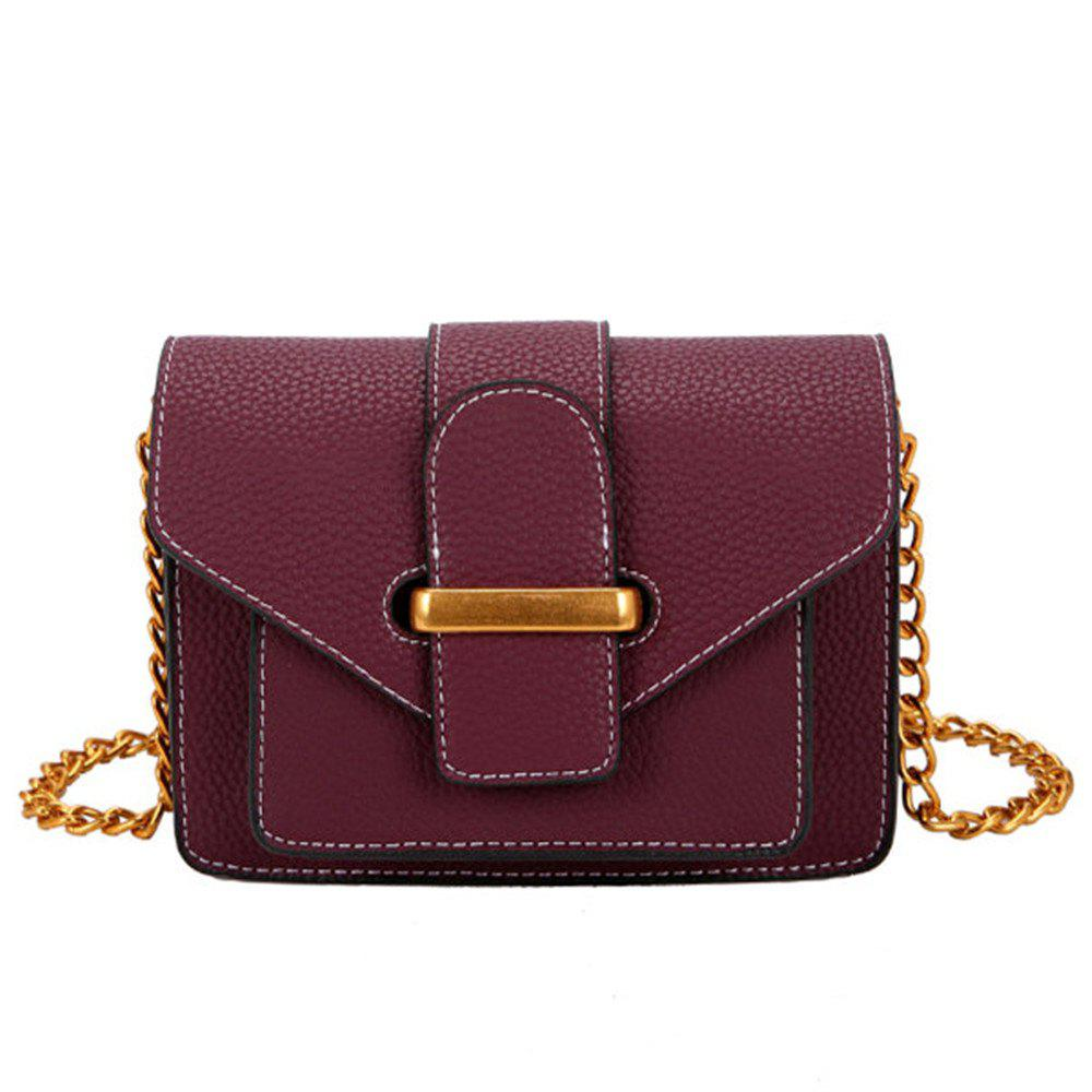 Simple and Wild Small Square Bag Multi-Layer Shoulder Casual Fashion Messenger Bag - PURPLE