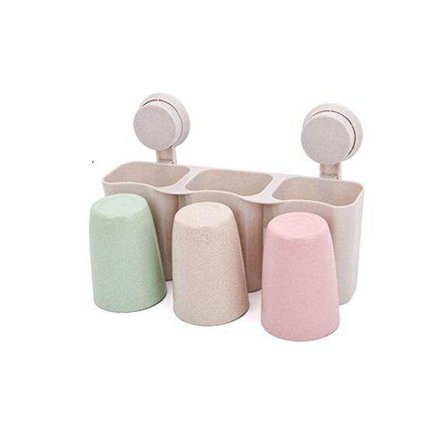 1 Sets of Toothbrush Rack and Wash Gargle Suit with Wheat Straw - WHEAT 28X8.5X11.5CM