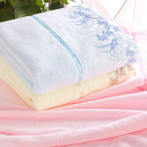1 Pc Bath Towel Simple Solid Lace Edge Thickened Cozy Soft Bath Towel - BLUE 70CM X 140CM