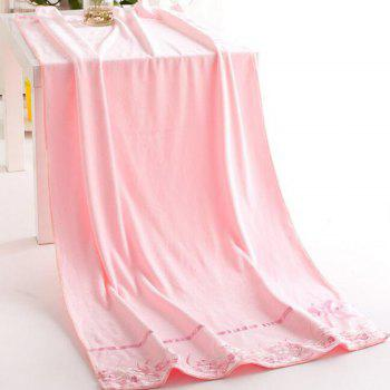 1 Pc Bath Towel Simple Solid Lace Edge Thickened Cozy Soft Bath Towel - PINK 70CM X 140CM