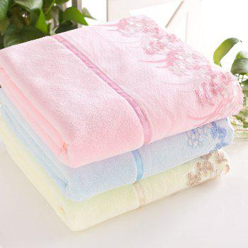 1 Pc Bath Towel Simple Solid Lace Edge Thickened Cozy Soft Bath Towel - PINK PINK