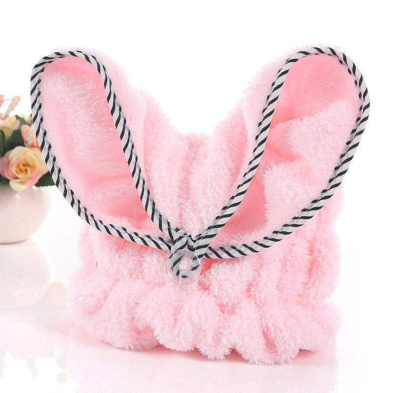 Hair Drying Cap Cartoon Lovely Rabbit Ear Design Quick Water Absorption Hair Towel - PINK 33CM X 30CM