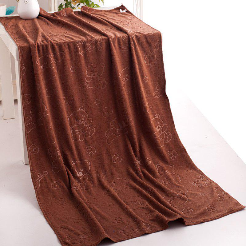 1 Pc Bath Towel Simple Solid Cozy Soft Bath Towel - BROWNIE 70CM X 140CM