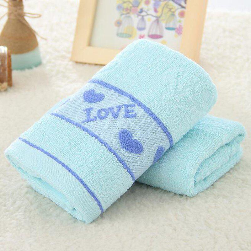 1 Pc Face Towel Cotton Blends Solid Color Love Pattern Cozy Towel - BLUE 33CM X 74CM