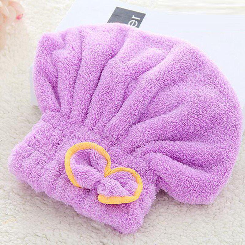 One Piece Bath Cap Simple Strong Water Absorption Comfy Hair Drying Cap - PURPLE 25CM X 30CM