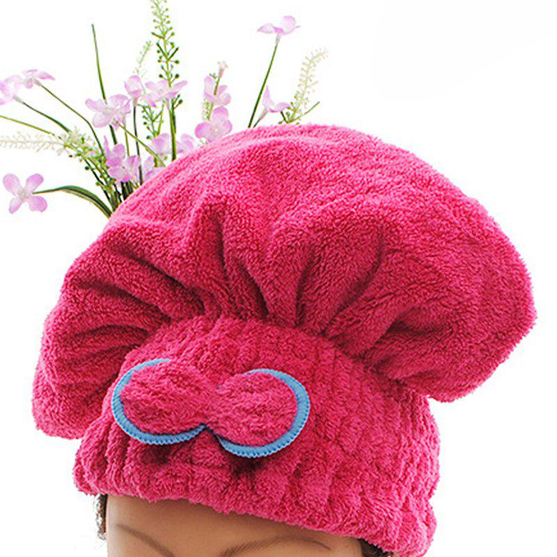 One Piece Bath Cap Simple Strong Water Absorption Comfy Hair Drying Cap - RED 25CM X 30CM