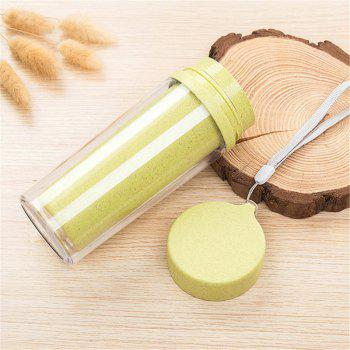 Hot Sale Double Wall Wheat Straw Readily Cup 301-400ML Coffee Thermal Bottle - GREEN GREEN