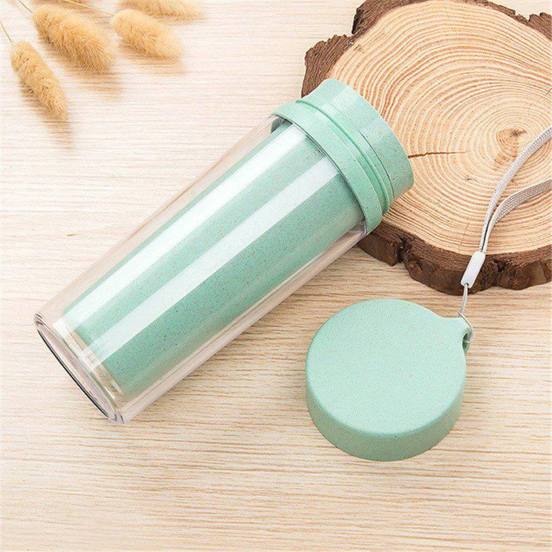 Hot Sale Double Wall Wheat Straw Readily Cup 301-400ML Coffee Thermal Bottle - BLUE