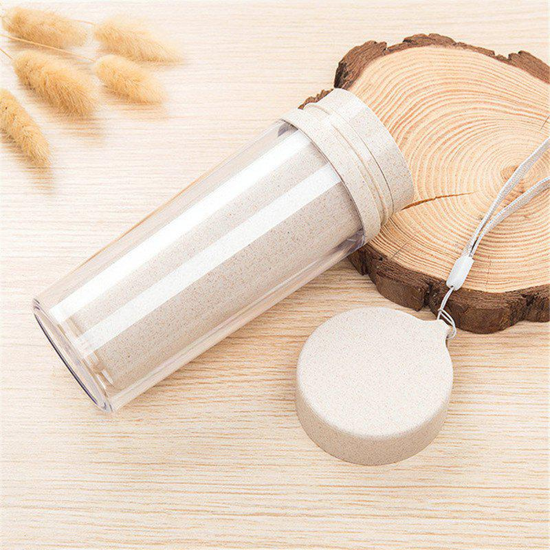 Hot Sale Double Wall Wheat Straw Readily Cup 301-400ML Coffee Thermal Bottle - BEIGE
