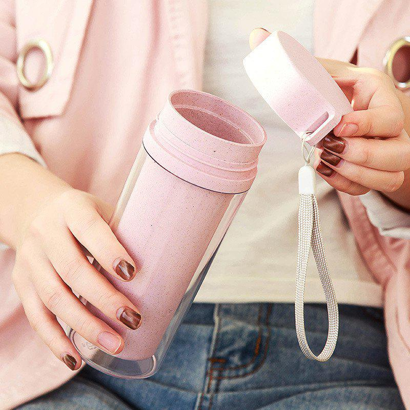 Hot Sale Double Wall Wheat Straw Readily Cup 301-400ML Coffee Thermal Bottle - PINK