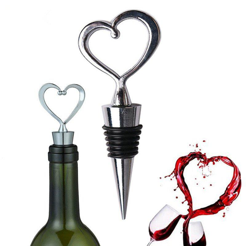 1 Pc Heart Shaped Wine Stopper Zinc Alloy Red Wine Champagne Wine Bottle Stopper Vacuum Retain Freshness Bottle - SILVER