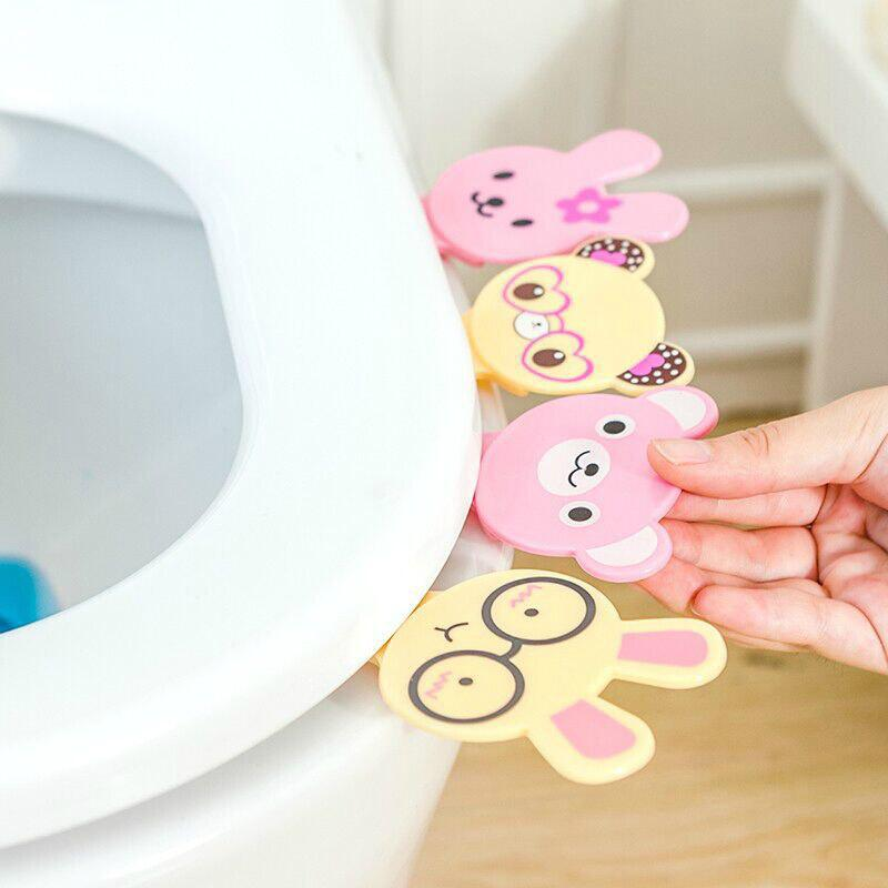 Hot Sale Creative Cute Cartoon Portable Toilets Lid Handle Uncovery Flip Lid Toilet Cover Lifter 4PCS - COLOUR