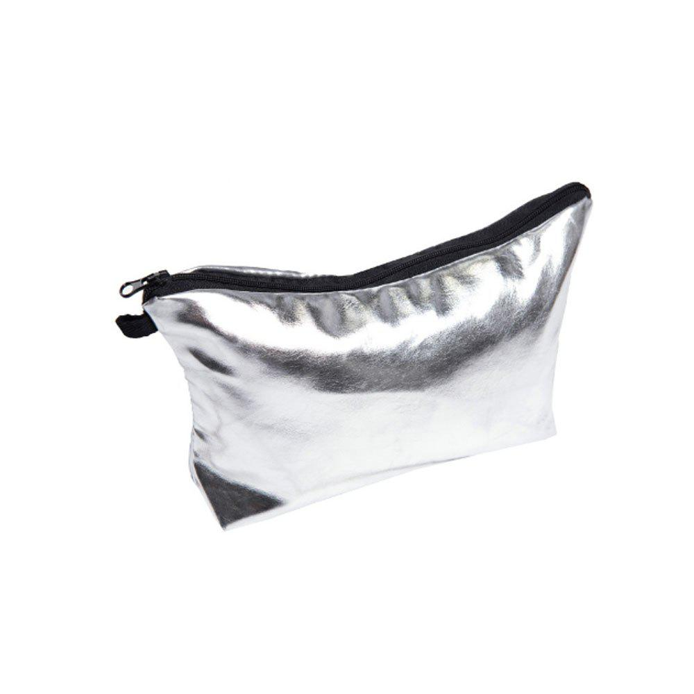 Leather Storage Waterproof Cosmetic Bag - SILVER
