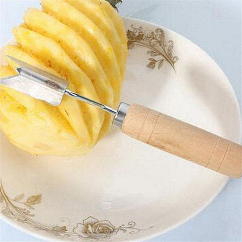 Stainless Steel Pineapple Peeler Wood Handle Triangle Pineapple Knife Vintage Fruit Tools - COLORMIX