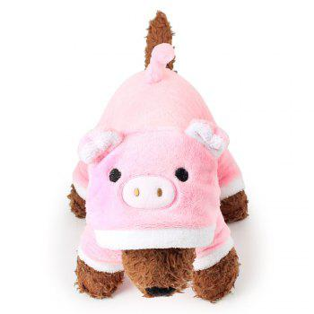 Cute Cartoon Hooded Coat Pet Piggy Clothing Soft Dog Clothes Four Legs Leotard Dog Clothing Pet - PINK S