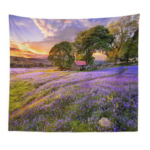 ROUNCO Handmade High-Definition Digital Printing Lavender Landscape Tapestry Beach Towel Multi-Size - PINKISH PURPLE 200X150CM