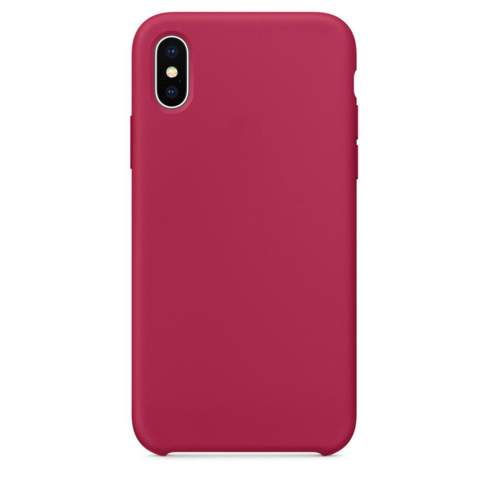 Soft Silicone Protective Case for iPhone X - ROSE RED