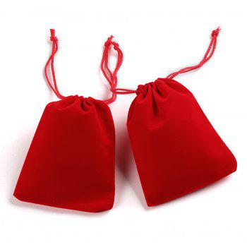 Soft Velvet Pouches W Drawstrings for Jewelry Gift Packaging 100PCS - RED SIZE S