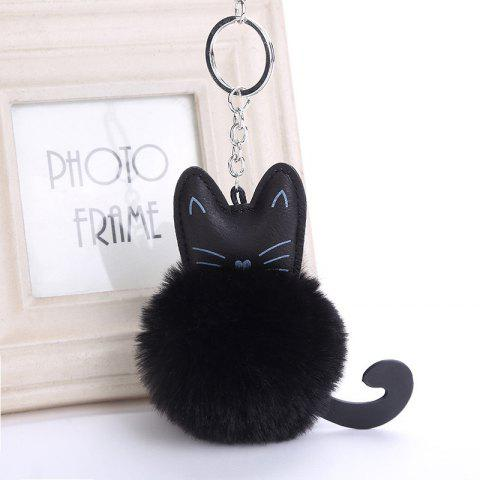 Cat Shape Plush Keychain Fashion Bag Pendant - BLACK