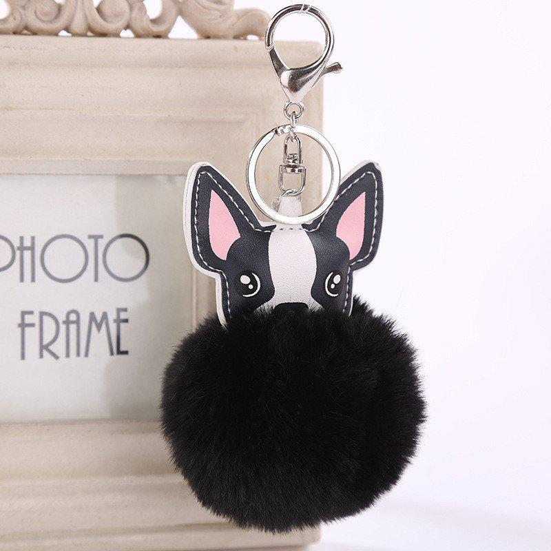 Cute Dog Shape Plush Keychain Fashion Bag Pendant - BLACK