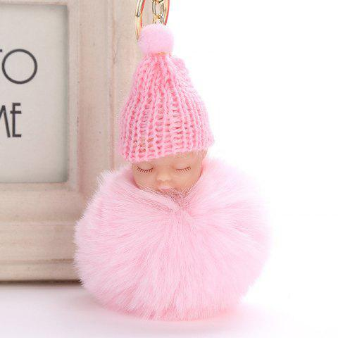 Sleeping Baby Shape Plush Keychain Fashion Bag Pendant - PINK
