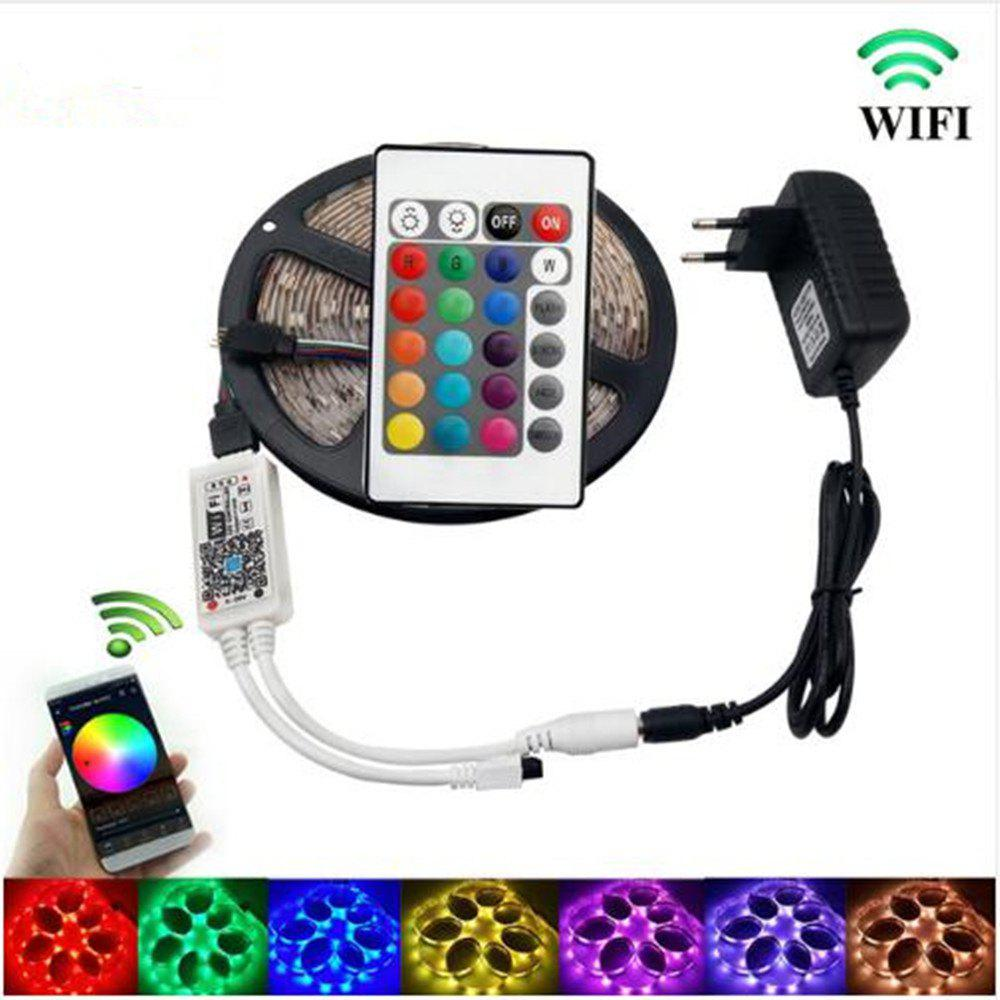 KWB WiFi Controller 5050 RGB LED Strip Light 60LED/m Neon Lamp Decor Tape Diode Ribbon DC 12V Adapter new 30w cob led light strip source warm white light lamp chip 120 65mm for diy car outdoor lighting led flood light dc12v 14v