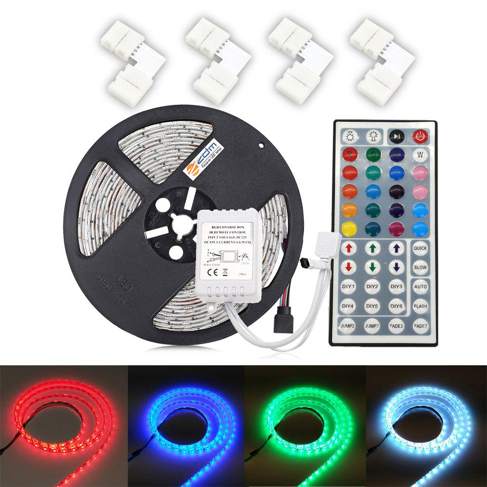 ZDM 5M 5050 300 RGB LED Strip Light with 44Key IR Controller 4PCS 10mm L Shape Quick Splitter Connector zdm 2x5m 5050 rgb led light strip controller power supply assembly